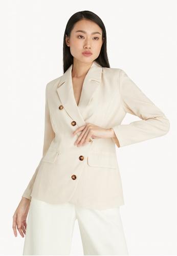 Pomelo beige Asymmetric Button Up Blazer - Cream 08CEBAABE59D16GS_1