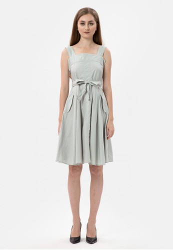 MKY Clothing green Pastel Cotton Drees Ova with belt in Green 5A8FEAADE89801GS_1