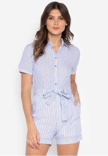 3019a938a43 Kamiseta blue Kalilah Short Sleeves Button Down Jumpsuit Short With Back  Embro DC71DAA8D7B836GS 1