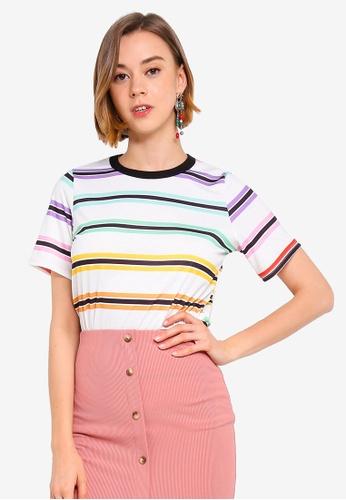 e93ed02f81138 Buy Boohoo Layla Rainbow Stripe T-Shirt | ZALORA HK