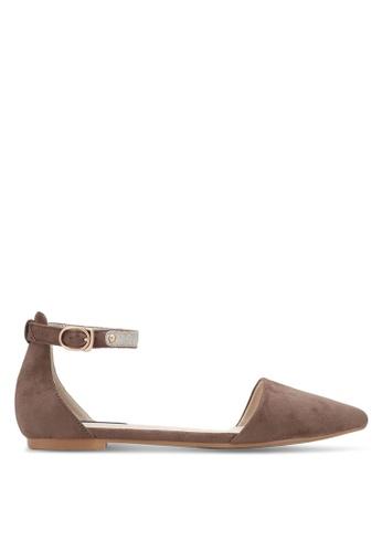 ZALORA 褐色 Ankle Strap Ballet Flats A89C9SHCF8B32BGS_1