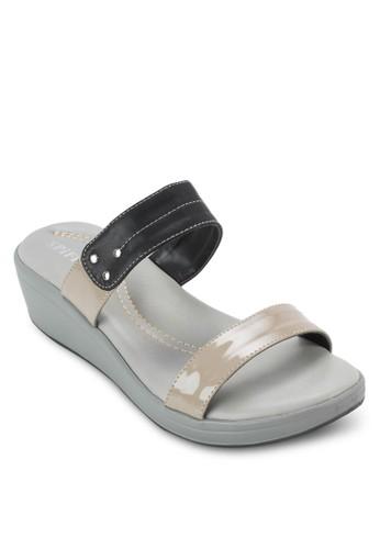 雙色寬帶厚底涼鞋, 女鞋, 楔形涼esprit 衣服鞋