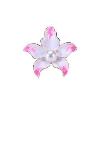Glamorousky white Fashion and Elegant Plated Gold Pink Flower Imitation Pearl Brooch A0187ACC98CC7AGS_1