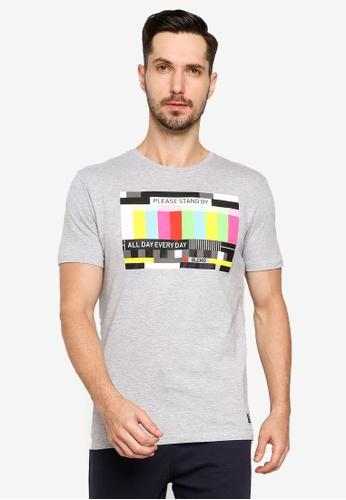 BLEND grey Graphic Print Crew Neck T-Shirt 748D4AA20189FAGS_1