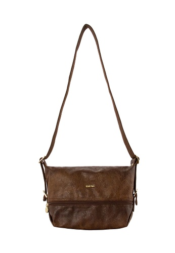 SEMBONIA brown SEMBONIA Synthetic Leather Saddle Flat Crossbody CE9C8ACA03D5C3GS_1