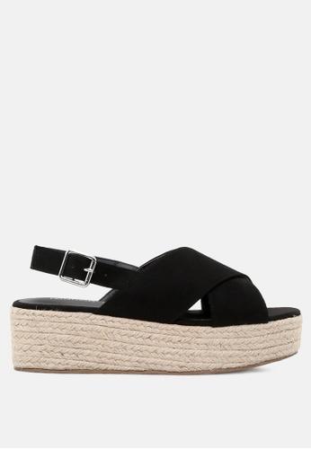 London Rag 黑色 交叉带楔露跟女式凉鞋 92602SHA2A1BCCGS_1