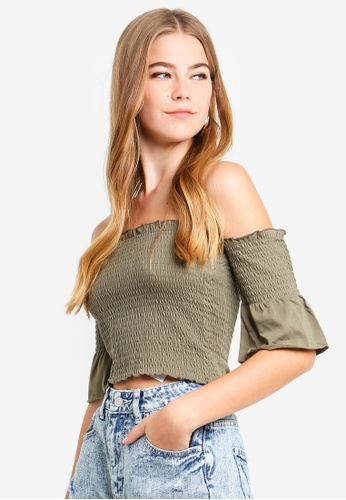 Supre green Shirred Off The Shoulder Top DB15CAA52634BCGS_1