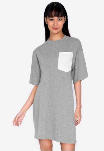 ZALORA BASICS multi Contrast Pocket Oversized T-shirt Dress FB35CAA8088A60GS_1