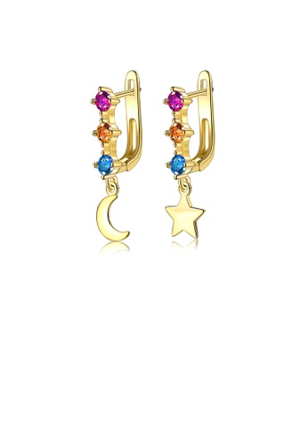 Glamorousky silver Fashion Simple Plated Gold Moon Star Earrings with Cubic Zirconia 5AFAAAC481FDAEGS_1