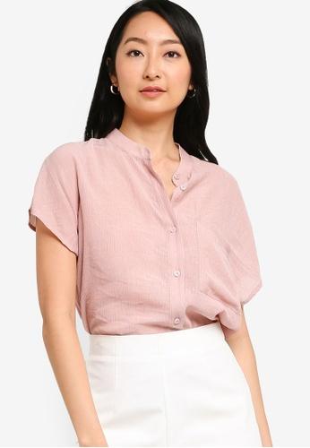 ZALORA BASICS pink Curve Hem Stand Collar Blouse 3BA8DAAAC0F292GS_1