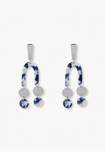 Pomelo blue Marbled U Double Drop Earrings - Blue 6F75BAC8A18264GS_1