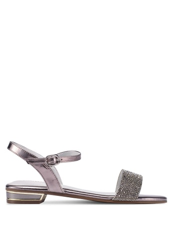 prettyFIT silver Crystal Embellished Flat Sandals 90528SH16AEC80GS_1