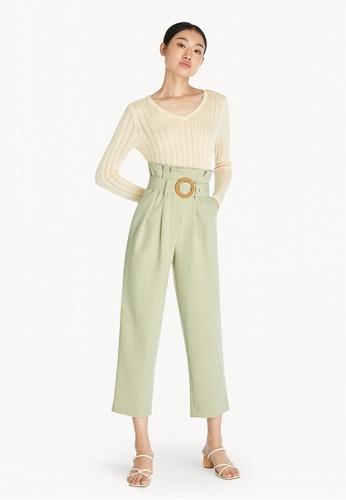 Pomelo green Belted High Waist Pants - Light Green A3BD4AA1555BABGS_1