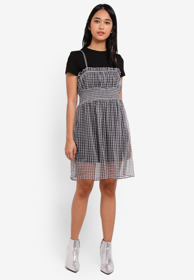 Gingham W White Something Black Black In Smocked 2 1 Dress Sheer Borrowed SRn8z