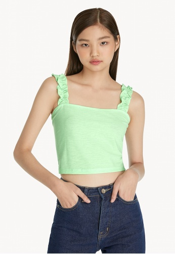 Pomelo green Frill Tank Top - Green 0FEDFAA0984891GS_1