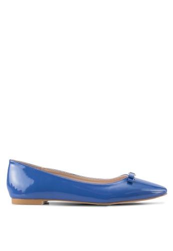 Velvet 海軍藍色 Square Toe Ballet Flats 9CB33SHE6E8CACGS_1