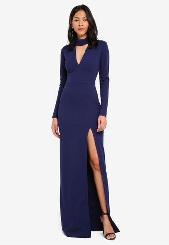 Goddiva navy Choker Long Sleeve Maxi Dress F2C2BAA44BA868GS_1