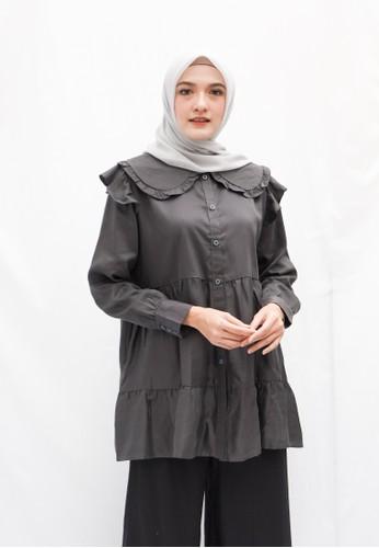 Anggiasari Mawardi grey Kamila Dark Grey Blouse A5B25AA89C1D48GS_1