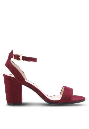 ZALORA 紅色 露趾繞踝粗跟鞋 D87A8SHE11410FGS_1