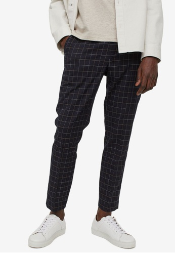 H&M blue and multi Slim Fit Cigarette Trousers 7F664AA2971BCFGS_1