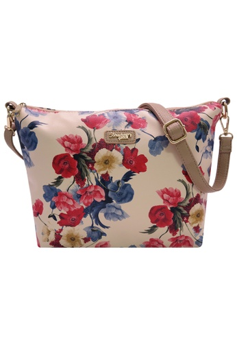 STRAWBERRY QUEEN red and blue and beige Flamingo Sling Bag (Floral C, Beige) A0462ACB7BB113GS_1
