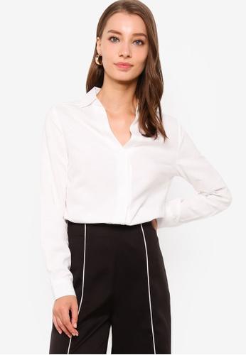 ZALORA WORK white Long Sleeve Shirt 8F31BAAD4F7A51GS_1