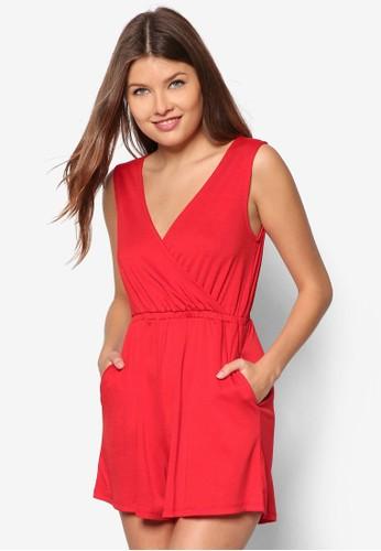 基本款裹飾無袖連zalora時尚購物網評價身褲, 服飾, 服飾