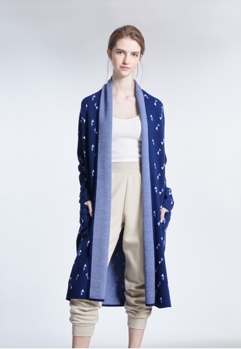 KLAPS navy Triangle patterned Long Cardigan F003CAA736FAB9GS_1