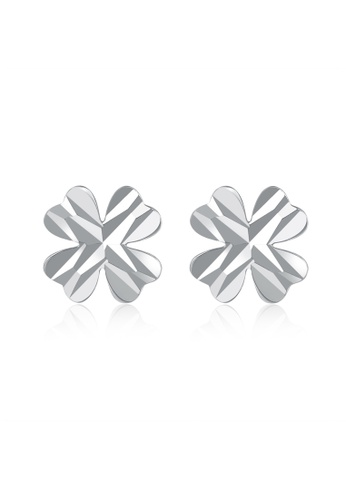 MaBelle silver 14K White Gold Four Leaf Clover Stud Earrings MA584AC06IHHHK_1
