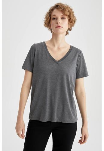 DeFacto grey Short Sleeve V-Neck T-Shirt 4EAC2AAD1E8468GS_1