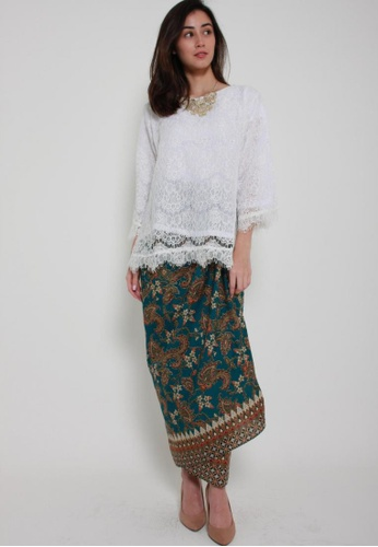 Naphthys Collection white and brown and blue and multi Batik Skirt/Sarong A9D38AABC779F2GS_1