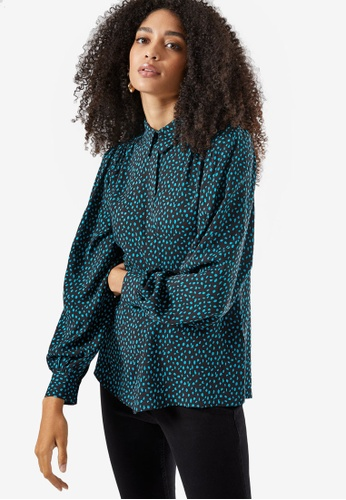Dorothy Perkins green Black And Green Spotted Shirt C2CDAAA5FB59F5GS_1