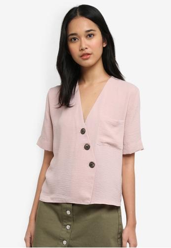 TOPSHOP pink Asymmetric Blouse 42827AAF10E37FGS_1