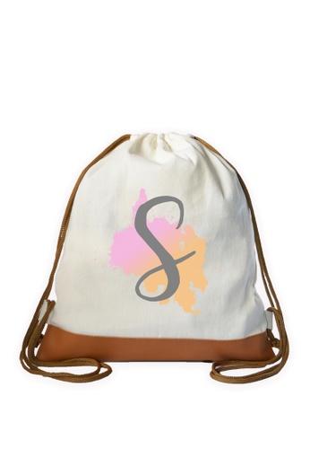 Myriad Print Concepts white Initial Drawstring Bag MY418AC0ILXNPH_1