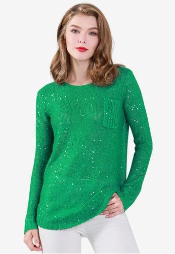 London Rag green Long Sleeve Sequin Knit Sweater 017CCAA4AB965DGS_1