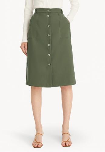 Pomelo green Midi Buttoned Skirt - Green CD7AFAA940C0F9GS_1