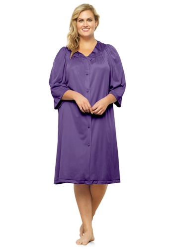 Exquisite Form purple Button Front Knee Length Robe 2537EAA53EA350GS_1