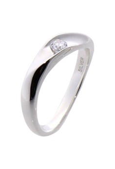 Wave Silver Ring with Artificial Diamond for Women lr0025f