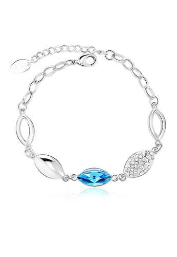 OUXI blue and silver OUXI Lotus Leaf Bracelet (Aquamarine) OU821AC45TMOMY_1