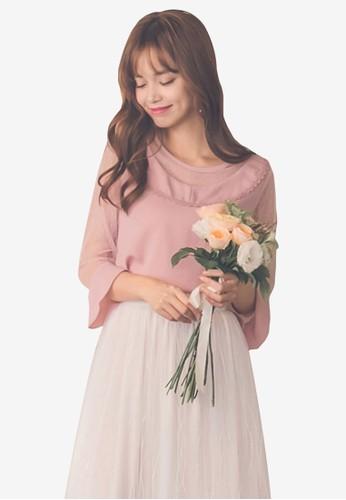 Yoco pink Chiffon Mesh Sleeve Blouse 9232BAA020D67AGS_1