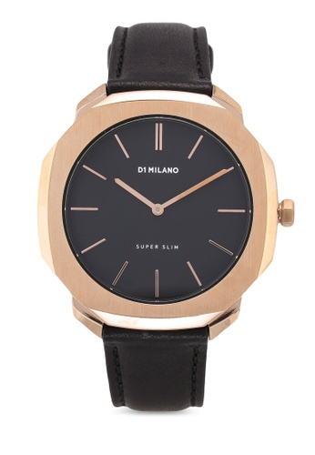 D1 Milano black and gold Super Slim Rose Gold Case Black Leather Strap 5A2C7AC47A7557GS_1