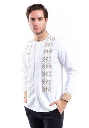 MANLY white MANLY Abqari White Shanghai Collar Slim Fit Combination Long Sleeve Shirt D1A3AAA681F29FGS_1