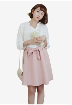 Eyescream white and pink Faux 2-Piece Fit And Flare Dress B806BAA3849E3DGS_1