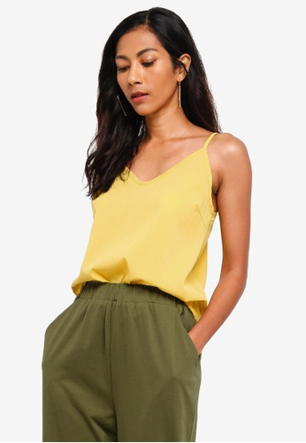 ZALORA BASICS yellow Basic V-Neck Cami Top 9D612AAACB0F82GS_1