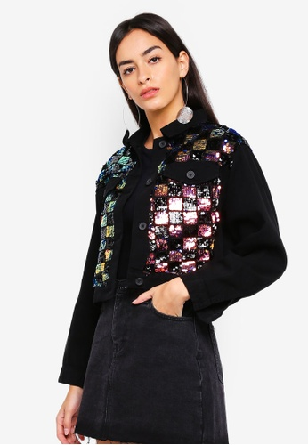 TOPSHOP 黑色 Sequin Check Shacket B9A85AA8F0218AGS_1