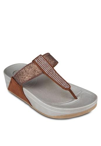 閃飾亮面夾腳厚esprit outlet 桃園底涼鞋, 女鞋, 拖鞋