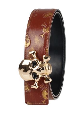 FANYU brown Men Leather Belt Skeleton Grain Brown FA549AC21PUWSG_1