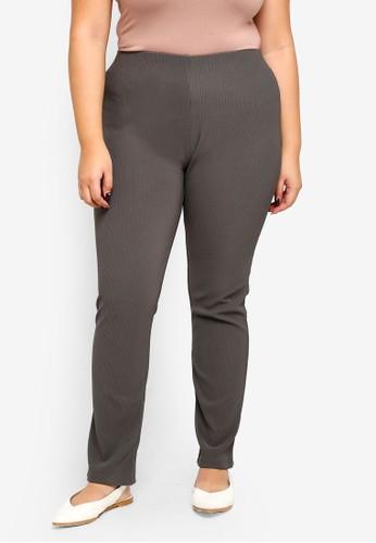 Gene Martino grey Plus Size Rib Detail Pants EE8EBAAF1DDDD0GS_1