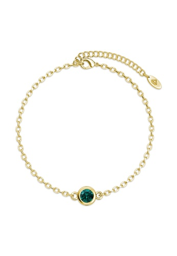 Her Jewellery gold Birth Stone Bracelet (May, Yellow Gold) - Made with premium grade crystals from Austria AE99BAC13B8F81GS_1