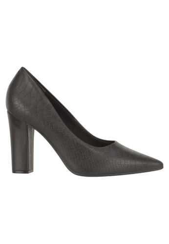 Beira Rio black Scaled Block Heeled Pointed Toe Shoes BE995SH94ERXHK_1